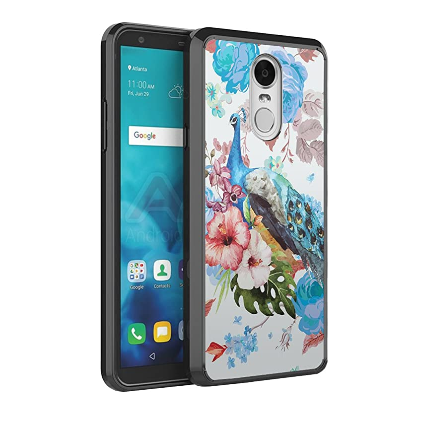 Capsule Case Compatible with LG Stylo 4 Plus, LG Stylo 4, LG Q Stylus [Slim Armor Scratch Resistant Slim Anti-Slip Protective Phone Cover Black Case] for LG Stylo 4 - (Flower Peacock)
