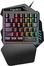 Huangou Gaming keypad,V100 Mini FN+ESC Button LED Backlight One-Handed 35 Keys Mechanical Keyboard, for Game LOL/PUBG/Fortnite/Wow/Dota/OW