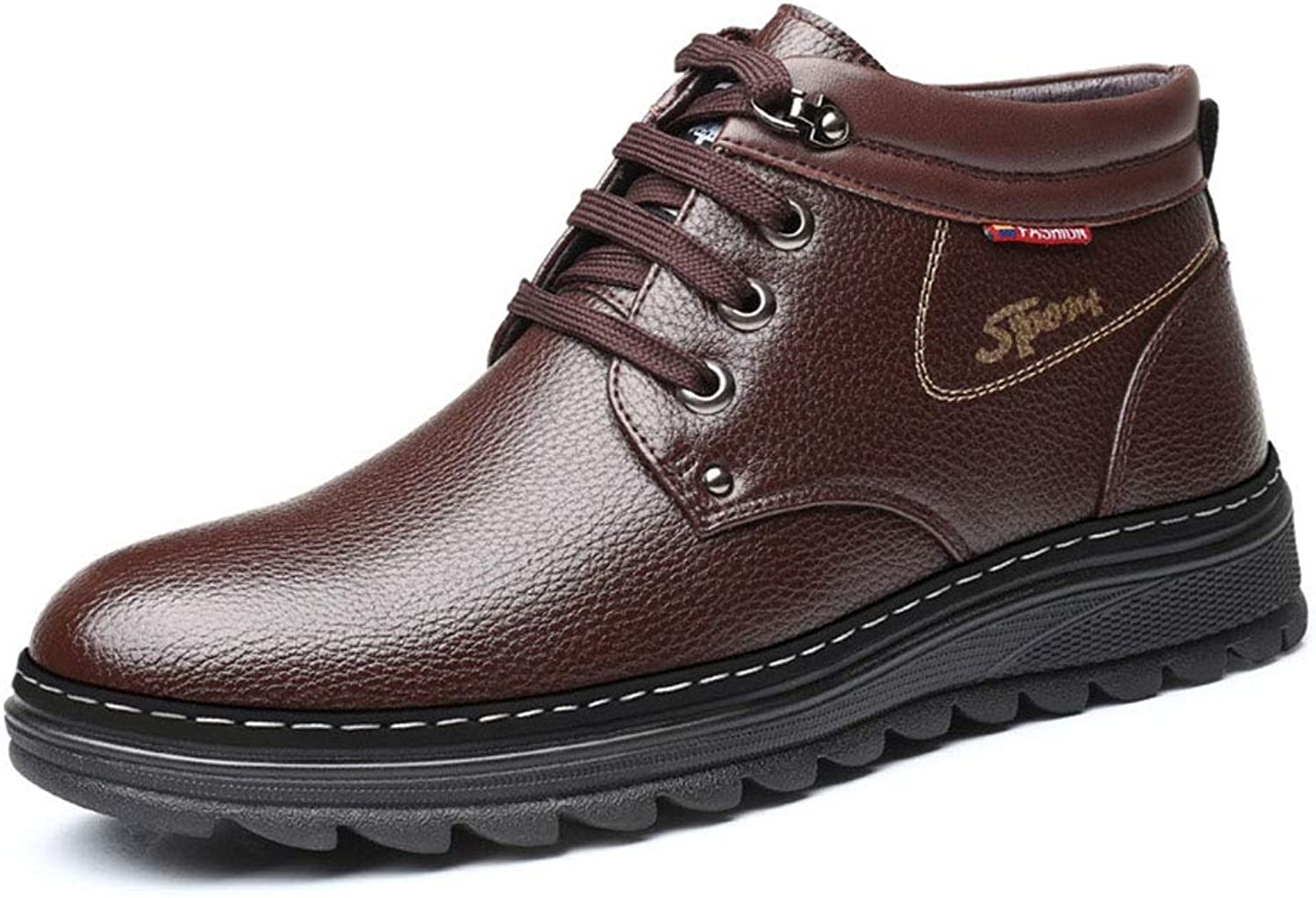 Men's Warm shoes Fashion Comfortable Work Leather shoes Non Slip Waterproof Shock Absorption Lace-up shoes (color   B, Size   41)