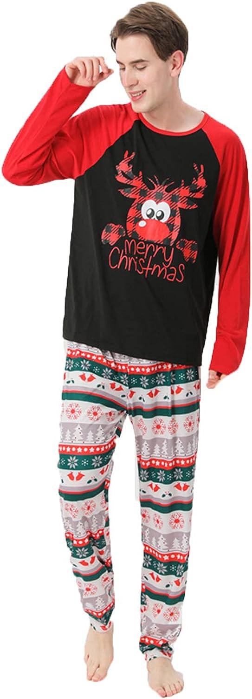 Family Xmas Pajamas Matching Sets Printed Long Sleeve Top and Stripe Pants Sleepwear PJs Outfits Festival Loungewear