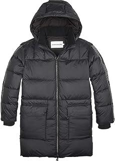 Calvin Klein IB0IB00252 Down Logo Tape Long - Chaqueta de invierno para niño, color negro