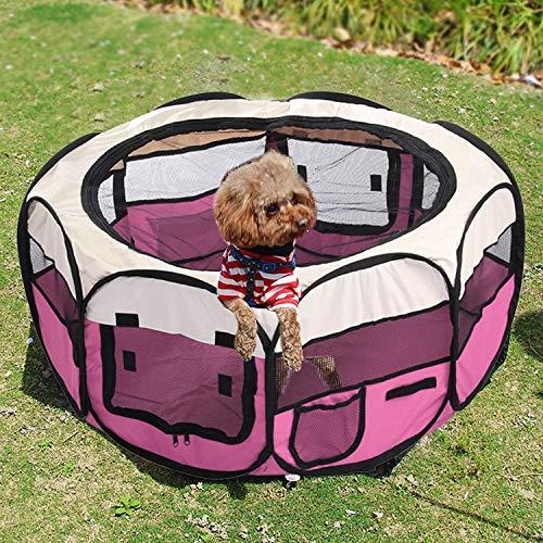 MorNon Pet Playpen Jaula para Perros Tela Gato Parque Mascota Descanso del Juego de Mascotas Plegable Lavable Durable Rosa Roja