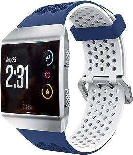 Vicstar Fitbit Ionic 交換ベルト バンド 高級シリコーン製 通気穴ある 柔らか ソフト カラフル 超薄 超軽量 接続工具付く 簡単装着 ブルー+ホワイト