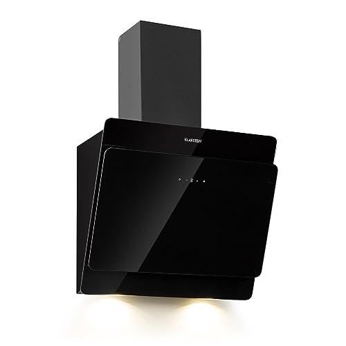 Klarstein Aurica 60 • Hotte aspirante murale • 165W • 3 vitesses • 620m³/h • Eclairage 2 x lampes LED de 1,5 W • Acier inoxydable • largeur: 60 cm • filtre à graisse en aluminium • Verre noir