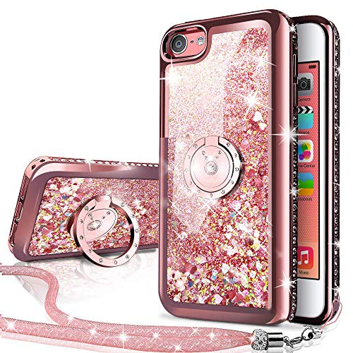 Silverback iPhone 4S Case,iPhone 4 Case, Moving Liquid Holographic Sparkle Glitter Case with Kickstand, Bling Diamond Rhinestone Bumper with Ring Protective Apple iPhone 4S Case for Girls Women