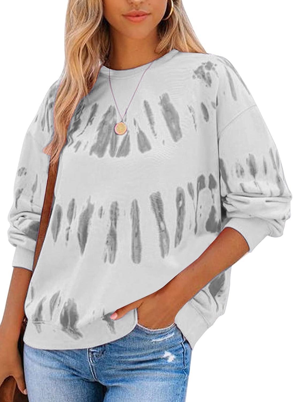 Asvivid Casual Long Sleeve Sweatshirt for Women Solid Crewneck Pullover Tops Loose Tunic Tee Shirts