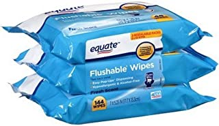 Equate Flushable Wipes Compared to Cottonelle Fresh (48Ct Ea), Pack of 3