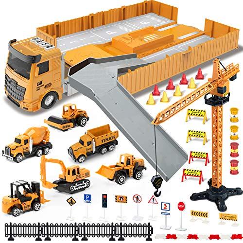 Vehículo de Construcciones Juguetes con Sonidos para Niños, Tractor Camión Diecast Volquete Excavadora Remolque Juguete Carro con Señales de Seguridad Vial, Cumpleaño Regalo para de 3 4 5 6 Años