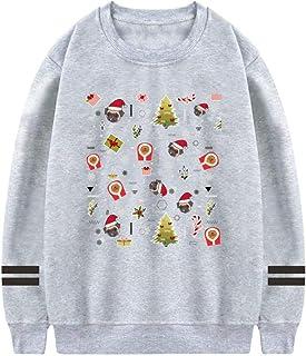 SwcyFun Women's Crewneck Sweatshirt Merry Pugmas Long Sleeve Warm Cotton Hoodie