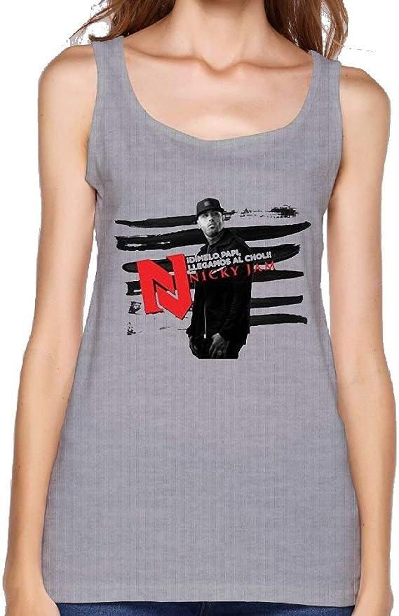 Women Nicky Jam Fashion Sports Gray Shirt Tank Tops: Amazon ...