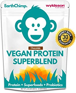 EarthChimp Plant Based Vegan Protein Powder (2lb) with Probiotics, Superfoods & Organic Fruit & Veg | No Added Sugar, Gluten Free, Gum Free (Chocolate)