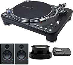 Audio-Technica AT-LP1240-USB XP Direct-Drive Professional DJ Turntable with Studio Monitor, Knox Stabilizer and Stylus Scale Bundle (4 Items)