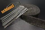 Schlauchland 15m Hitzeschutzband schwarz 50mm 1000°C + 10 Kabelbinder Auspuffband Thermoband Krümmerband Heat Wrap Basaltfaser Isolierband Hitzeschutz