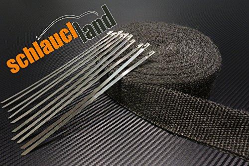 Schlauchland 20m Hitzeschutzband schwarz 50mm 1000°C + 10 Kabelbinder Auspuffband Thermoband Krümmerband Heat Wrap Basaltfaser Isolierband Hitzeschutz