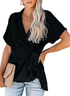 Women Casual Striped V Neck Collared Cuffed Short Sleeve Button Down Tee Shirts Tops
