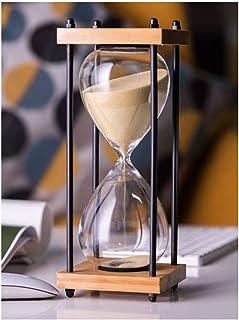 Le Bureau Global Village Bazaar Sablier 1 Minute avec Sable Blanc /étincelant 8,9 cm en Bois et Laiton Style Vintage Nautique pour collectionneurs Cadeau d/écoratif Unique et cr/éatif pour la Maison