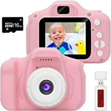 YIWEI Kids Camera Gifts for 3 4 5 6 Year Old Girls Digital Cameras 10MP Video Camera Portable Puzzle Games DIY Video Kids Camera Silicone Soft Cover & Micro SD Card (16GB Memory Card Included)