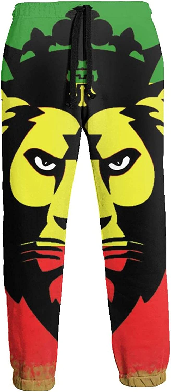 Mens Elastic Waist Sweatpants Lion Flag Joggers Sweatpants for Gym Training Sport Pants