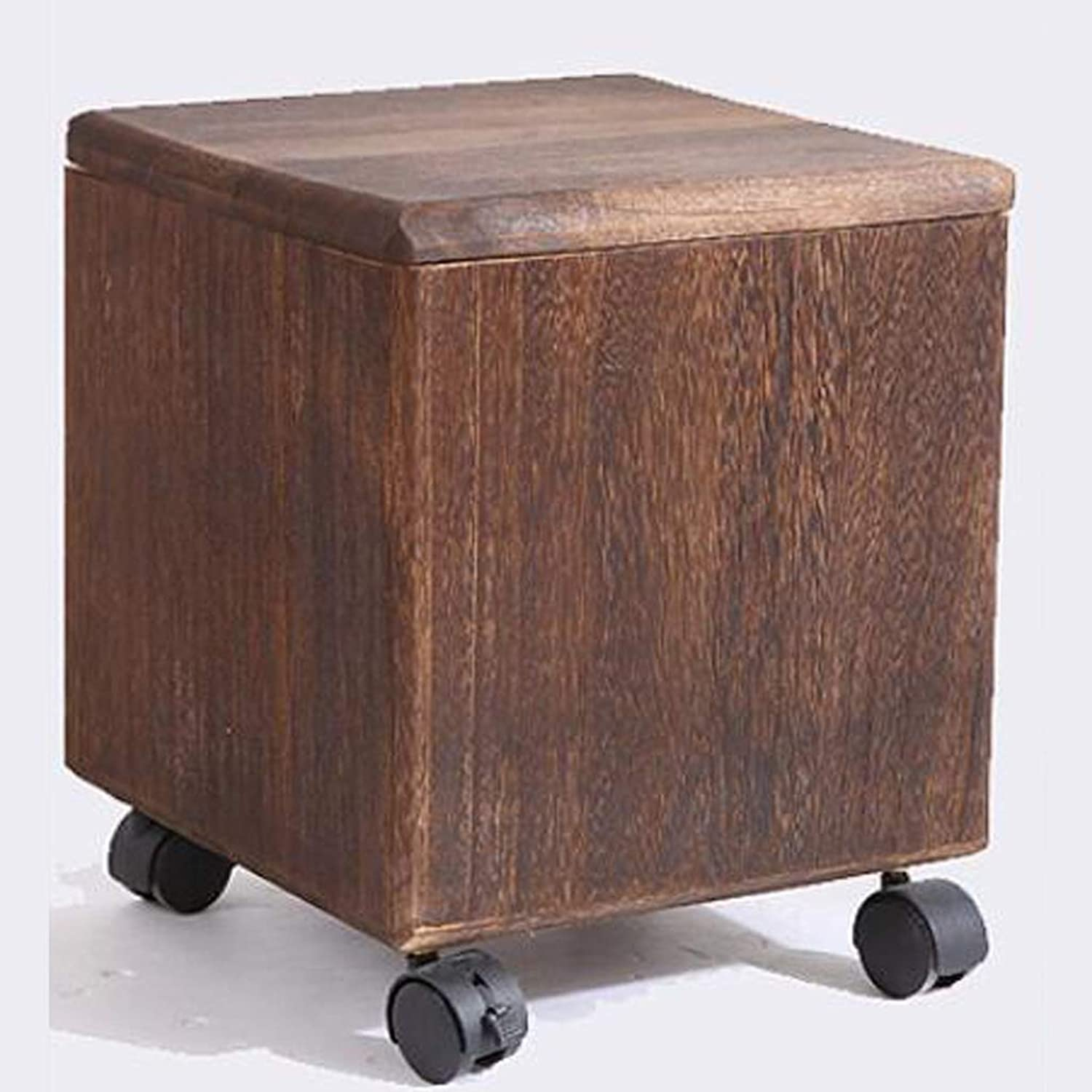 QYSZYG Household Solid Wood Stool, Simple Storage Stool, Sundries Storage Box, Multi-Purpose shoes Bench Stool (color   Brown)