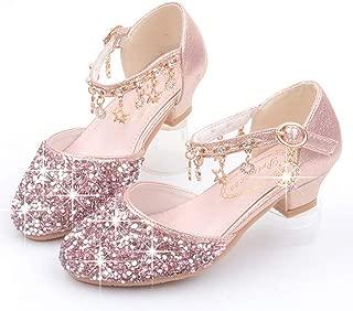 LFHT Little Kids Girls Dress Pumps Glitter Sequins Princess Low Heels Mary Jane Party Dance Shoes Rhinestone Sandals