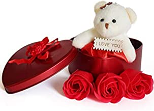 Heart Shaped Box Best Love Gift for Valentine Girls Red Scented Rose Soap Flower Petals & Soft Teddy Bear- Red Colour