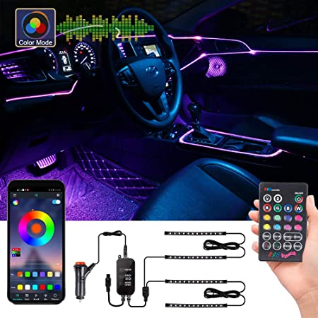 Innoo Tech Rgb Car Led Interior Lighting Car Led Strip With App Upgrade Two Lines Design Waterproof Multicoloured App Controllable Led Lighting With Cigarette Lighter 12 V Auto