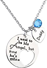 Jovivi I Used to Be His Angel Now He's Mine Daddy Blue Crysal Memorial Necklace,in Memory of Loved One Daddy