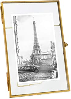 Isaac Jacobs 4x6, Antique Gold, Vintage Style Brass and Glass, Metal, Floating Desk Photo Frame (Vertical), with Locket Bead Clasp Closure for Pictures Art, More (4x6, Antique Gold)