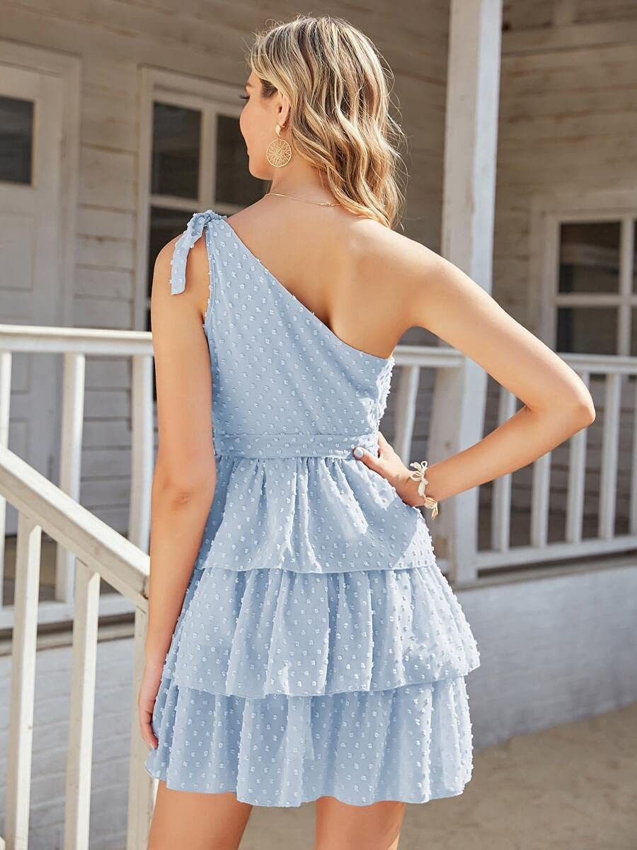 LING-Hairpieces Recommendation shopping One Shoulder Self Belted Ruffle Swiss Hem Dr Dot