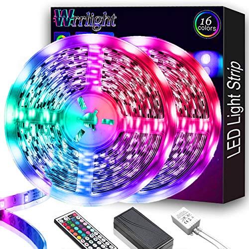 LED Strip Lights 32.8FT/10M 300 LEDs Waterproof RGB Light Strip Kits with Remote for Room, Bedroom, TV, Kitchen, Desk, Color Changing Light Strip Kit SMD5050 with 3M Adhesive, 12V Power Supply…