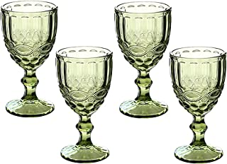 Wine Glasses Set of 3 Colored Water Goblets 10 OZ Wedding Party Red Wine Glass For Juice Drinking Embossed Design (Green S...