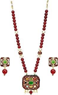 Runjhun Jewellery Navaratna Semi Precious Gemstones Ruby Red Color Traditional Designer Necklace Handicrafted in India for Women Girls