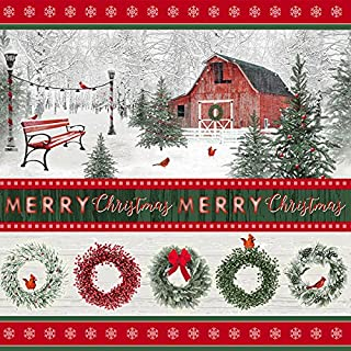 RedBorder Stripe, Wreaths, Barn, Winter Scene, Merry Christmas Text, Holiday Wishes, Henry Glass, Jan Shade Beach, 6933-86, By YARD