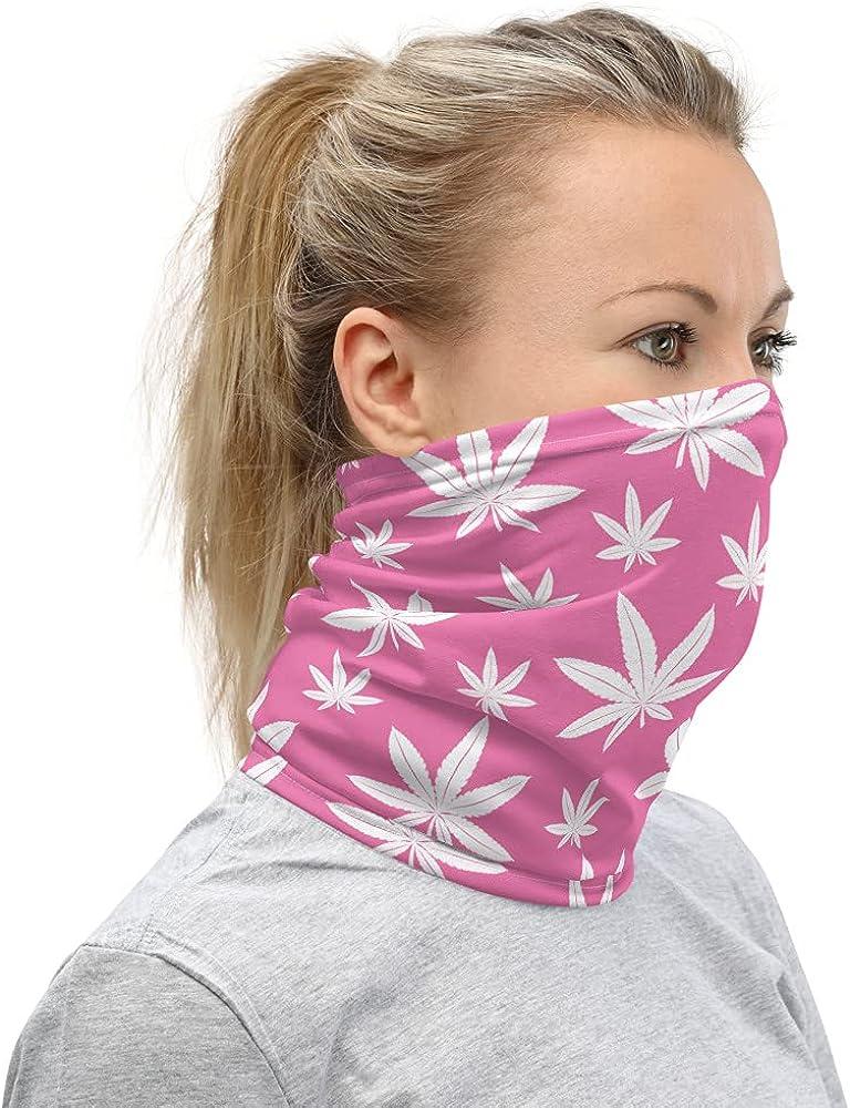 Pink Weed Face Covering Marijuana Neck Gaiter Cannabis Unisex Headband Bandana Wristband and Neck Warmer