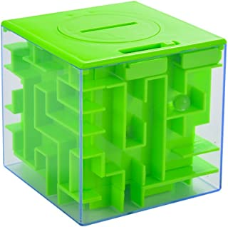 StyleZ Money Maze 3D Puzzle Coin Box Game Saving Bank for Kids Toys Gifts Green Cube