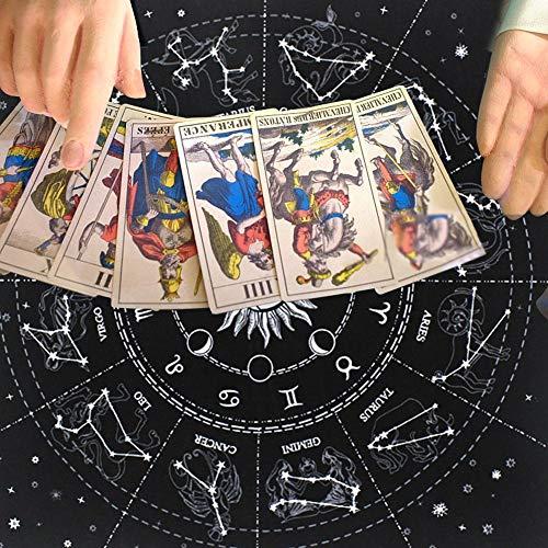 Altar Tarot Tischdecke12 Sternbilder Astrologie Tarot Weissagungskarte Tischdecke Für Tarotenthusiasten Psychologische Berater Zauberer Tägliche Haushalte Dreifache Göttin Mit Pentagramm, Schwarz