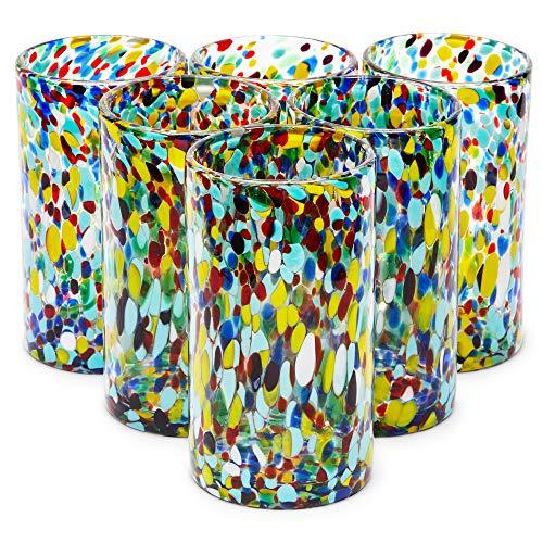 Hand Blown Mexican Glassware Confetti Rock Glasses 14 oz 6 Pack
