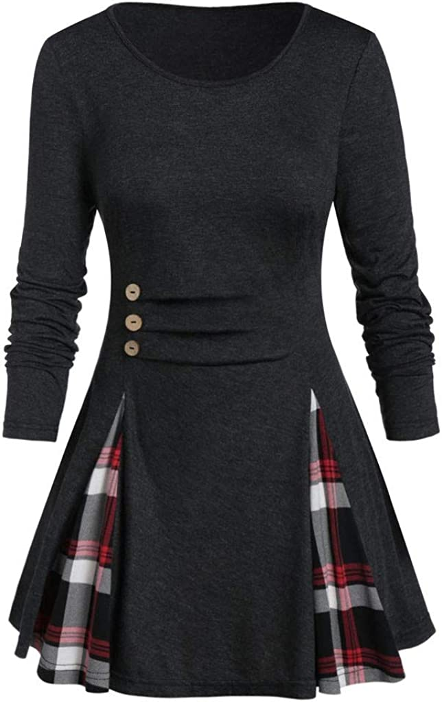 Women Plus Save money Size Tops Tunic Tee Buttoned Plaid Weekly update Sleeve Print Long