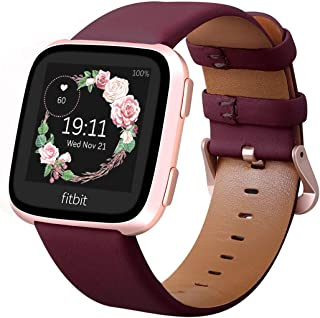 KADES for Fitbit Versa Bands, Classic Leather Band Replacement Strap Compatible for Fitbit Versa 2/ Fitbit Versa Lite Edition Smart Watch Women (Wine Band+Rose Gold Buckle)