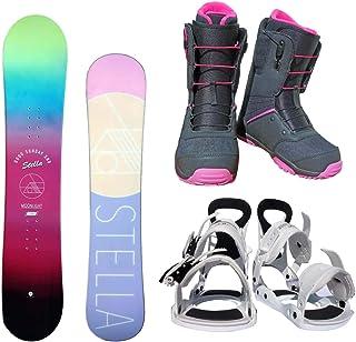 STELLA レディース スノーボード3点セット スノボー+バインディング+クイックシューレースブーツ