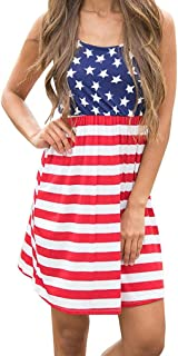 Queensheero Women's Summer Sleeveless Stars and Stripe Print Flag Dress Elastic Waist Loose Mini Tank Dress