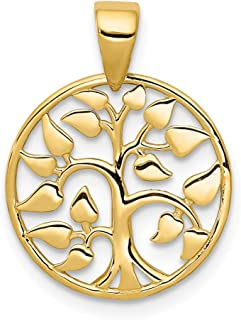 14k Yellow Gold Tree In Circle Pendant Charm Necklace Inspiration Fine Jewelry Gifts For Women For Her