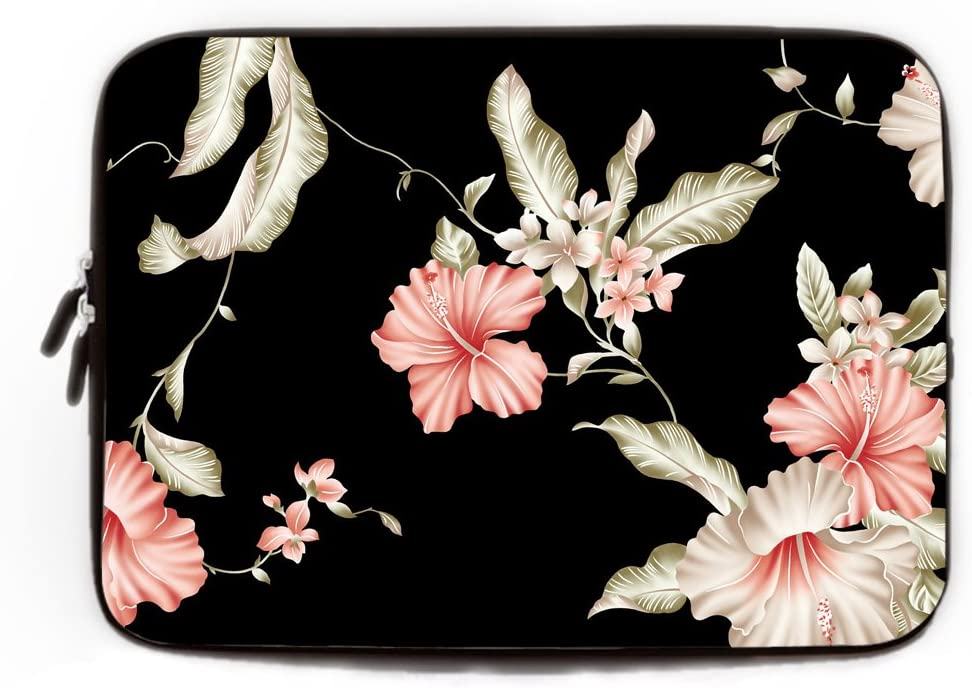 Plant Flowers Illustration Laptop Sleeve Cute 3D Print Laptop Computer Storage Bag Anti-Scratch Polyester Tablet Sleeve for Co-Workers Friends White 13inch