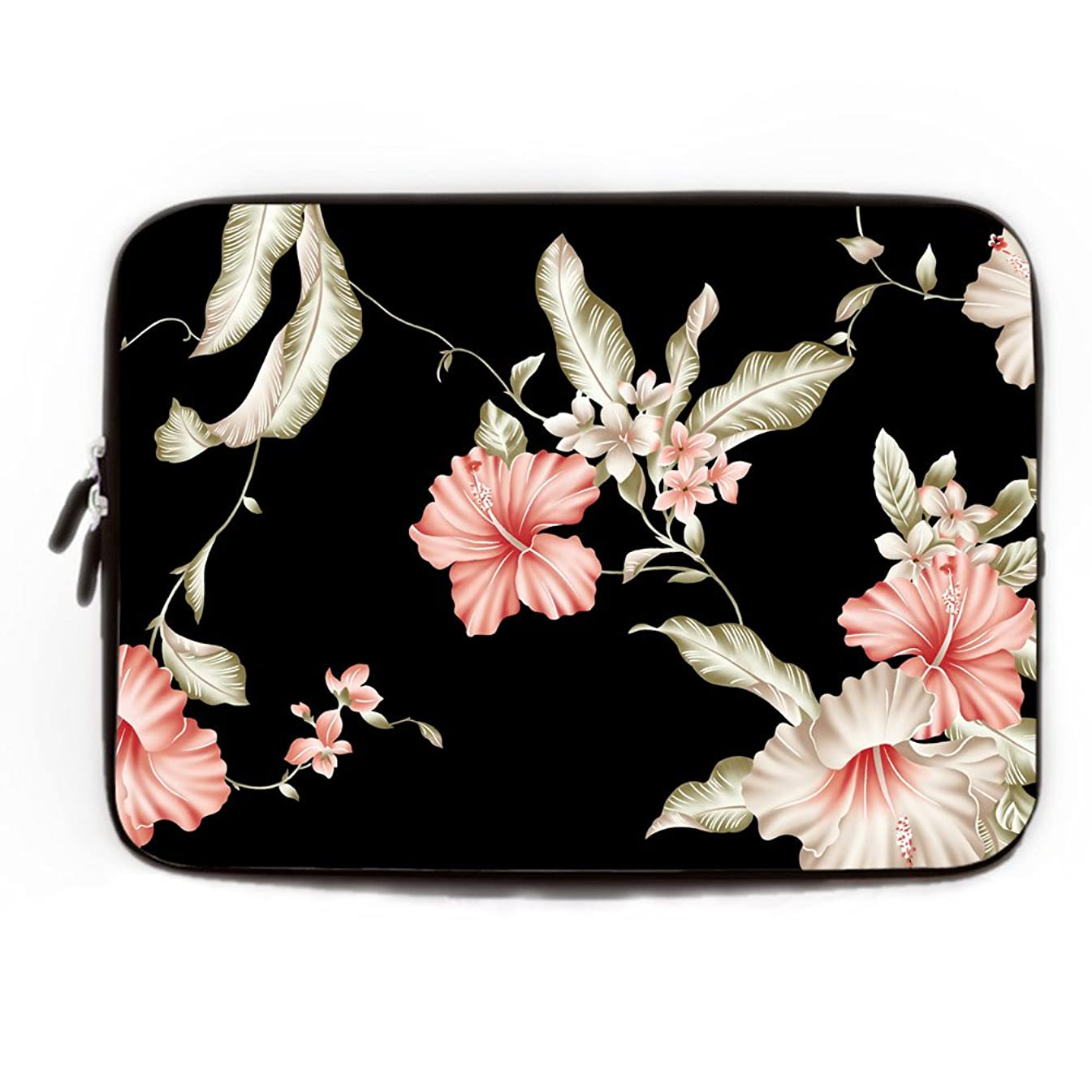 Funny Rose Flower Computer Cases for Laptops 15.6 Floral Computer Sleeve 15 15.4 Inch Soft Waterproof Neoprene Laptop Sleeve Gifts Fashionable Pink and Black Laptop Cases 15.6 inch
