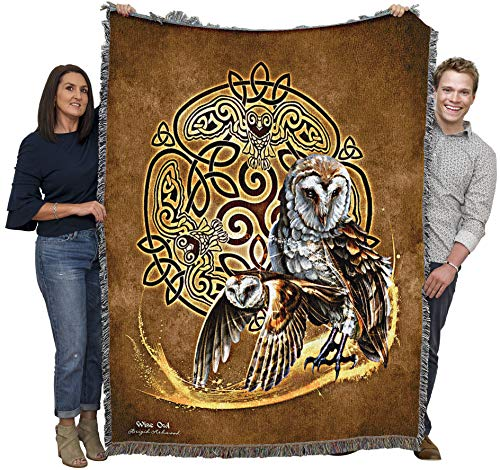 Celtic Owl - Brigid Ashwood - Cotton Woven Blanket Throw - Made in The USA (60x50)