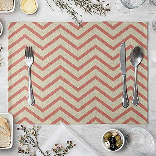 AmDxD Juego de 2 manteles individuales de lino de algodón y lino, líneas onduladas de 30,4 x 40,6 cm, decoración de mesa para casa de campo, boda, fiesta, cena, hogar, rojo y beige