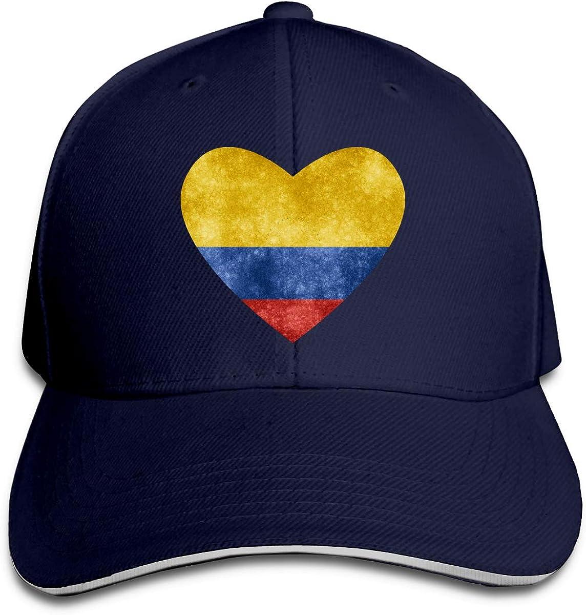 Colombian Heart Flag Hat Baseball Cap Duck Tongue Cap Sunhat Fashion Cap