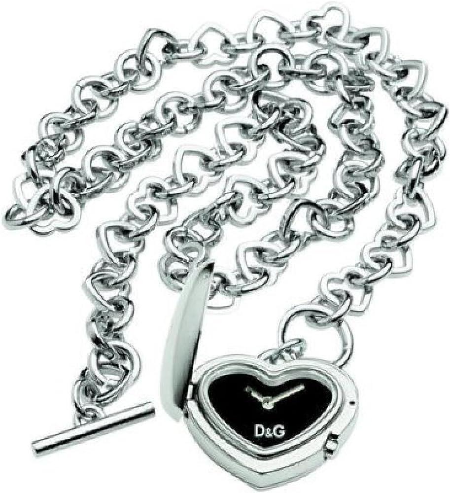 Dolce & gabbana,collana con pendente orologio per donna a forma di cuore,in acciaio 3719290069