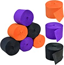Crepe Paper Streamers for Halloween, Jerbro 738 Ft Black Orange Purple Crepe Paper Roll Halloween Party Room Wall Decor, 9 Rolls