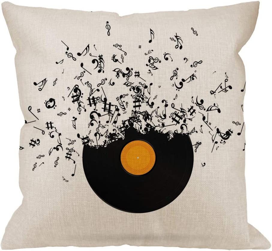 HGOD DESIGNS Musicnotes Throw Pillow Record Max 78% OFF Black Cushion Cover Ranking TOP1